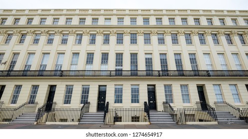 Hove, Sussex, UK. December 2018. Photo of the facade of Brunswick Terrace on the sea front in Hove / Brighton. An example of Regency architecture.