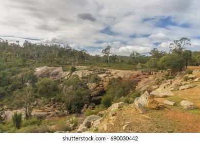 Hovea falls from Railway heritage trail, John Forrest national park, Darling range, Western Australia