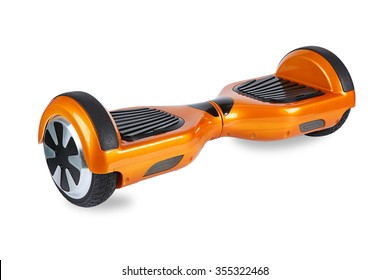 Hover Board, Close Up of Dual Wheel Self Balancing Electric Skateboard Smart Scooter on White Background