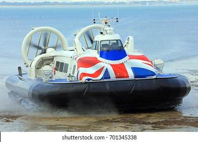 Hovercraft Coming Off The Sea Onto Land. Isle Of Wight. England