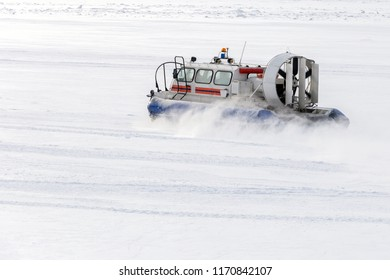 Hovercraft moves on a flat snow surface