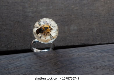 Hoverflies on chamomile flower in epoxy resin. handmade epoxy resin jewelry. ring