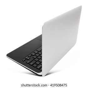 Hovering aluminium laptop, rear view, isolated on a white background.