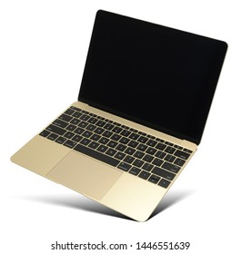 Hovering gold laptop with black screen and popular design, isolated on a white background.