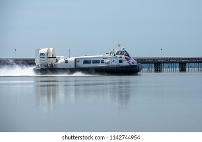 Hoverlink Isle of Wight hovercraft on its way from Ryde to Southsea on a hot summer's day 25th July 2018