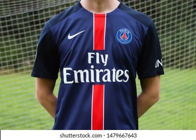 HOVSTA, SWEDEN - AUGUST 15, 2019: Man with a Paris Saint-Germain match kit