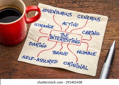 how to be interesting -- a word cloud or mindmap with positive character features -  a motivational doodle on a napkin with a cup of coffee