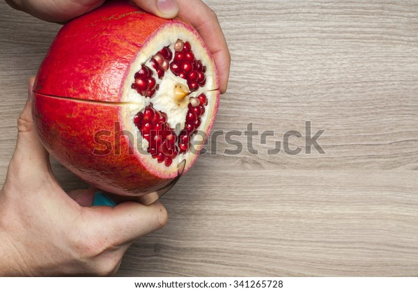 How Cut Pomegranate Royalty Free Stock Image