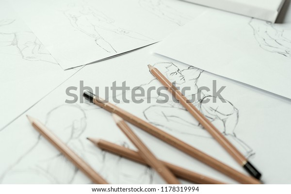 How Draw Class Many Figure Drawing Stock Photo (Edit Now