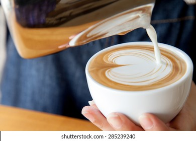How to free pour a cup of coffee latte