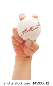 how to grip a baseball properly, isolated on white background.