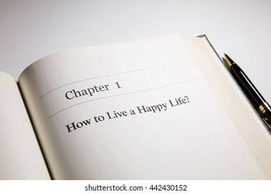how to live a happy life?  life  philosophy, fake book.