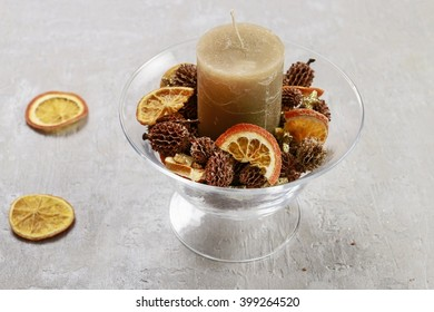 How to make candle holder decorated with cones and dried fruits. Christmas decorations tutorial. Step by step.