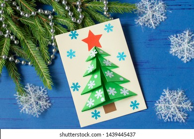 How to make Christmas card with Christmas tree. Original children's art project. DIY concept. Step-by-step photo instructions. Step 14. Final result