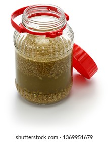 how to make homemade japanese soy sauce; mix the koji into the brine to create moromi(fermenting ingredients)