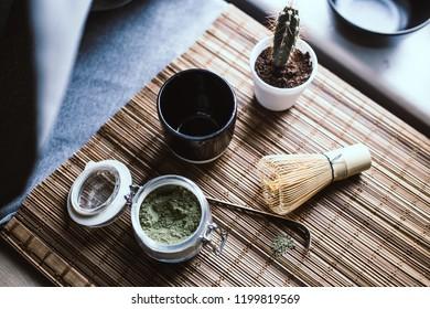 How to make a matcha latte. Japanese matcha ceremony. Green tea lover