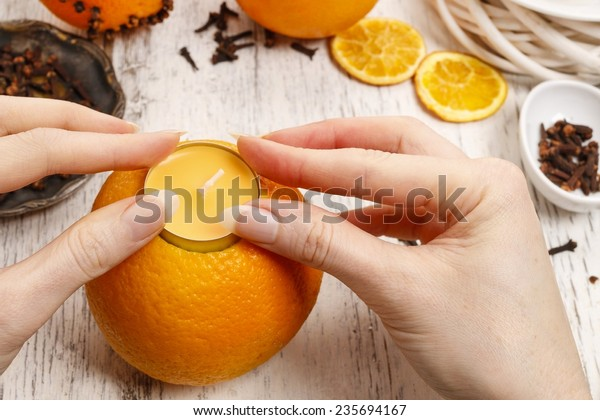 How to make orange pomander ball with candle - step by step, tutorial