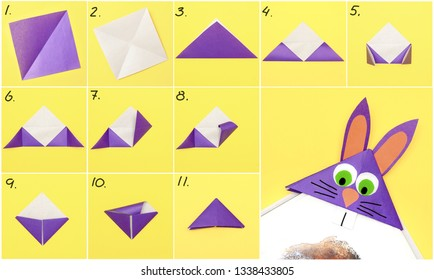 How to make Origami paper bookmark form of bunny for Easter greetings. Children's art project. DIY concept. Step by step photo instruction