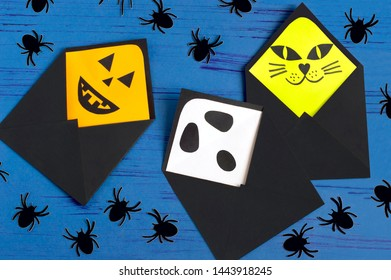 How to make original envelopes for Halloween greetings. Children's art project. DIY concept. Step-by-step photo instruction. Step 13. Final result
