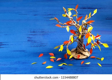How to make together with child autumn tree from craft package. Original children's art project. DIY concept. Step-by-step photo instructions. Step 10. Final result