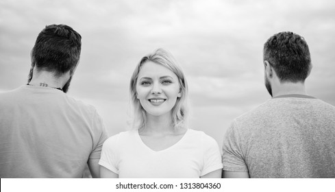 How to pick better boyfriend. Girl stand in front two faceless men. Girl thinking whom she going ask dating. Everything you need to know about choosing right guy. Best traits of great boyfriend.