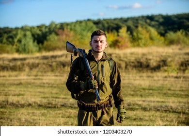 How turn hunting into hobby. Guy hunting nature environment. Masculine hobby activity. Hunting season. Experience and practice lends success hunting. Man bearded hunter with rifle nature background.
