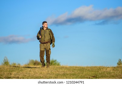 How turn hunting into hobby. Masculine hobby activity. Hunting season. Experience and practice lends success hunting. Man bearded hunter with rifle nature background. Guy hunting nature environment.
