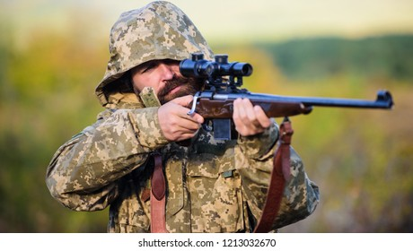 How turn hunting into hobby. Masculine hobby activity. Hunting season. Guy hunting nature environment. Man bearded hunter with rifle nature background. Experience and practice lends success hunting.