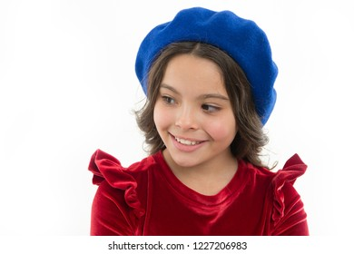 How to wear beret like fashion girl. Kid little cute girl smiling face posing in hat isolated on white. Fashionable beret accessory for female. How to wear french beret. Beret style inspiration.