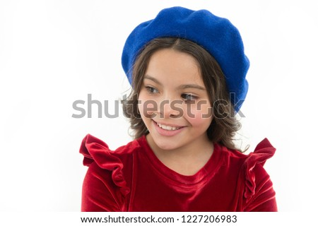 93d4f01486e How to wear beret like fashion girl. Kid little cute girl smiling face  posing in
