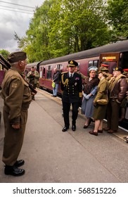 Howarth, North Yorkshire, UK. 15th May 2016, Visitors participating in the war time 1940's weekend bu dressing in various =wartim uniforms, Hopwarth, North Yorkshire, UK