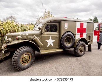 Howarth, North Yorkshire, UK. 15th May 2016, 1940's ambulance at the war time 1940's weekend, Howarth, North Yorkshire, UK