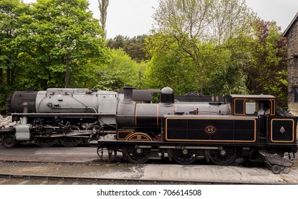 Howarth, West Yorkshire, England, UK. May 19th 2017. Rolling stock in sidings at Howarth station, North Yorkshire, UK