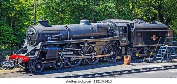 Howarth, Yorkshire, England, June 15 2018 British Rail loco 75078 a standard class 4MT 4-6-0 built for use on Southern Rail fitted with an extra large tender because of the absence of water troughs.