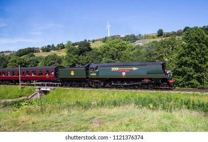 Howarth, Yorkshire, England, June 26 2018 City of Wells class steam engine 34092 a 'West Country' class 4-6-2 loco, running on the Keighley and Worth Valley Railway; built in 1949, withdrawn in 1964.