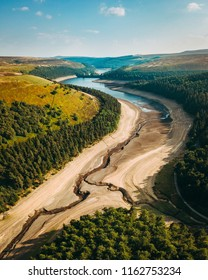 Howden Reservoir in the Peak District, during the summer 2018 heatwave in the UK.