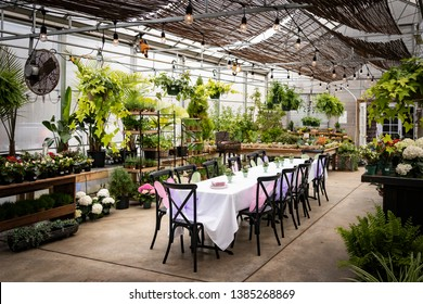 Howell, NJ - April 13, 2019: Party table setup in greenhouse sunroom