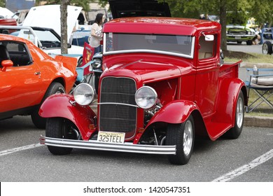 Howell, NJ / USA - June 1, 2019: Historical red 1958 Studebaker at Classic Car Club Night