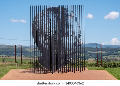 Howick, South Africa. March 2019. Metal sculpture by Marco Cianfanelli at the Nelson Mandela Capture Site in Howick, Kwazulu Natal, South Africa. Mandela was captured near here in 1962.