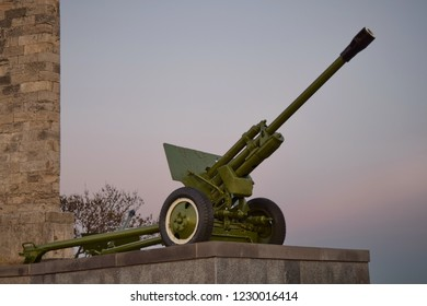 Howitzer on evening sky background, Mount Mithridat, Kerch, Crimea