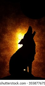 Howling wolf silhouette  with bright background.