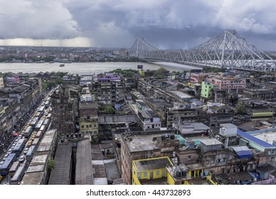 Howrah Bridge during rainy season.  Howrah bridge is a cantilever bridge and its world 6th largest bridge of its type.It is consider to be lifeline of the Kolkata city.