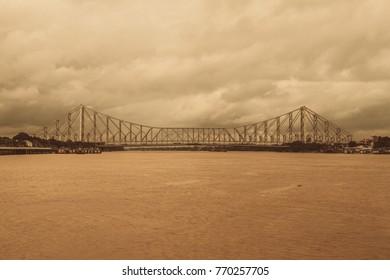 howrah bridge at evening, kolkata, india