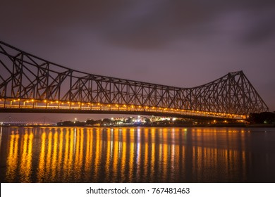 Howrah bridge - The historic cantilever bridge on the river Hooghly during the night in Kolkata, India