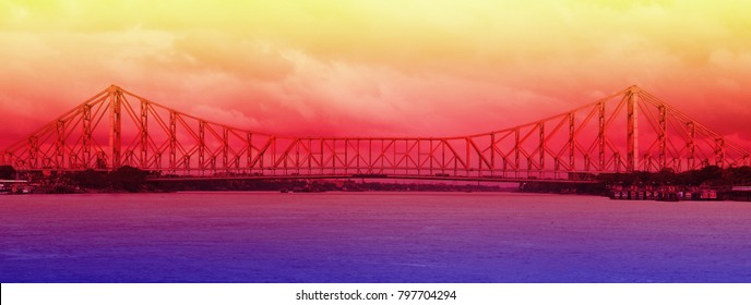 howrah bridge at morning in kolkata, india