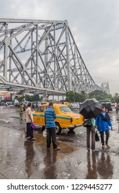 HOWRAH, INDIA - OCTOBER 27, 2016: View of Howrah Bridge, suspended span bridge over the Hooghly River in West Bengal, India