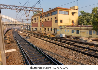 HOWRAH STATION , HOWRAH, WEST BENGAL / INDIA - 4TH FEBRUARY 2018 : Railway track of Indian railway. It is fourth largest network by size in the world.