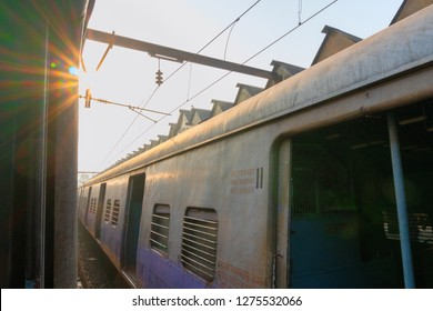 HOWRAH STATION , HOWRAH, WEST BENGAL / INDIA - 4TH FEBRUARY 2018 : A railway compartment of a train waiting for departure at Howrah station .