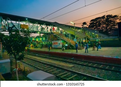 HOWRAH STATION , HOWRAH, WEST BENGAL / INDIA - 4TH FEBRUARY 2018 : Seoraphuli junction and Railway track of Indian railway. It is fourth largest network by size in the world.