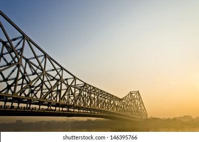 Howrah Truss bridge in Calcutta at sun rise